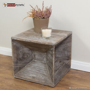 Details About Stool Wood Cube Side Table Nightstand Grey Coffee Storage