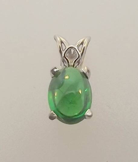 14KT WHITE gold .96CTTW OVAL CABOCHON EMERALD SOLITAIRE PENDANT (3P 552-10013)