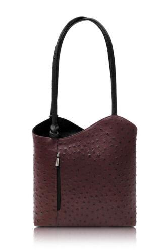 Handbag Ladies Italian Leather Shoulder Bag Backpack Convertible Ostrich Effect