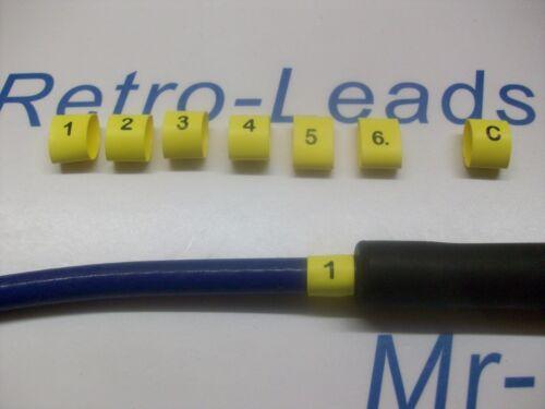 Ignition Lead Plug numéros 1//6 thermorétractables Ht plomb Noir sur Jaune 1//6 /& C