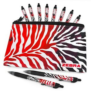 Zebra-Z-Grip-Smooth-Flame-Design-10-Black-Ink-Pens-with-Matching-Pencil-Case