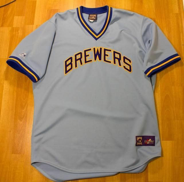 MAJESTIC MLB COOPERSTOWN COLLECTION MILWAUKEE BREWERS JERSEY POWDER Blau NAVY XL