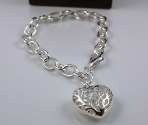 75 925 Plata Pulsera de cadena de enlace grueso sólido Pltd con hueco corazón encanto