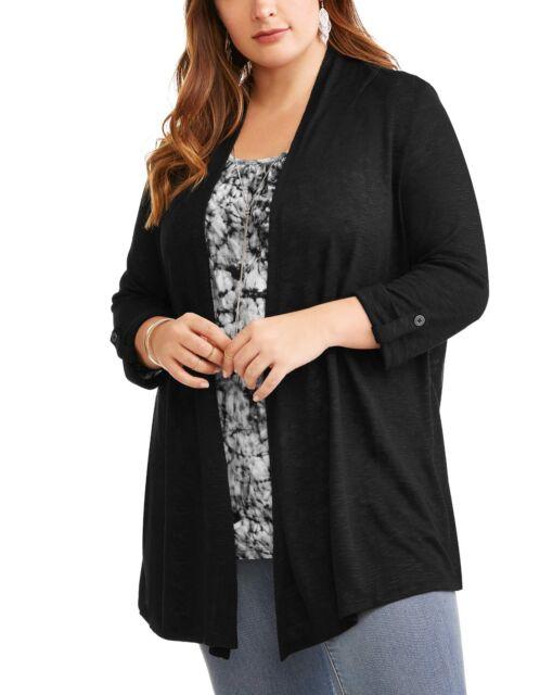 45d7fe61e25 Terra   Sky Women Plus Size 1x Cardigan Sweater Built-in Top Light Knit