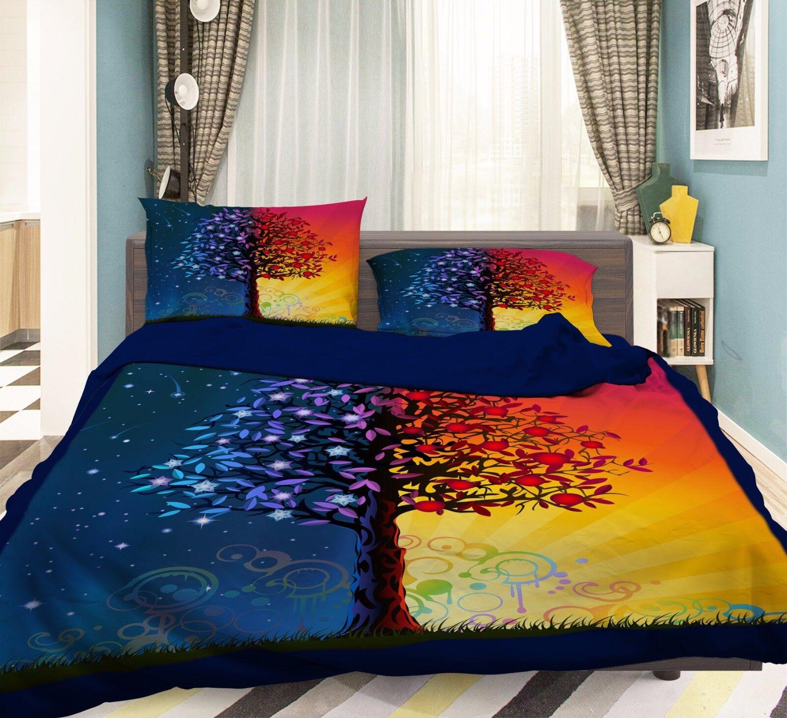 3D Tree Sky 806 Bed Pillowcases Quilt Duvet Cover Set Single Queen UK Summer