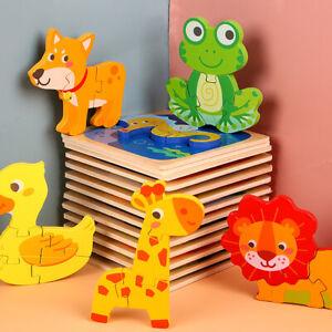 Mignon Coloré en Bois Puzzle Baby Kids Toddler Jigsaw Animal À faire soi-même Learning Toy UK
