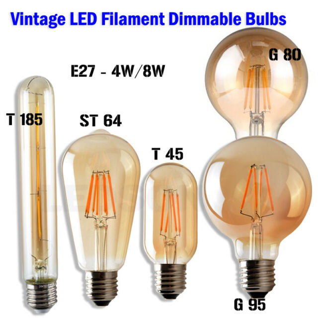 Led Line E27 Globe Light Bulb G125 Filament 8w Warm White Modern Lamp Edison For Sale Ebay