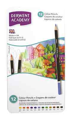 DERWENT ACADEMY 12 ARTIST COLOUR PENCIL TIN SET FOR DRAWING & SKETCHING