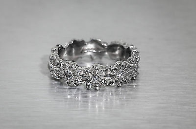 Estate .33ct VS G Diamond 14k White Gold DAISY Eternity Band Ring