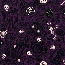 Alexander Henry Midnight Muertos Skeleton Skull Mexican FQ Rockabilly DIY