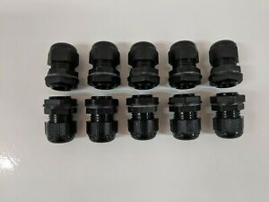 10x 20mm Grey Waterproof IP68 Compression TRS Cable Stuffing Gland Locknut M20