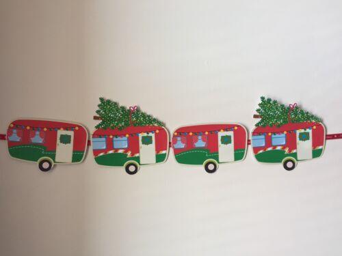 Vintage Christmas Caravane style Bunting 4 Individuel Carte caravanes sur ruban