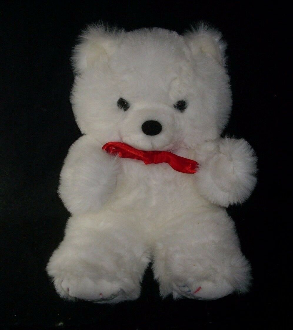 20  BIG VINTAGE BLOOMIES BLOOMINGDALES WHITE TEDDY BEAR STUFFED ANIMAL PLUSH TOY