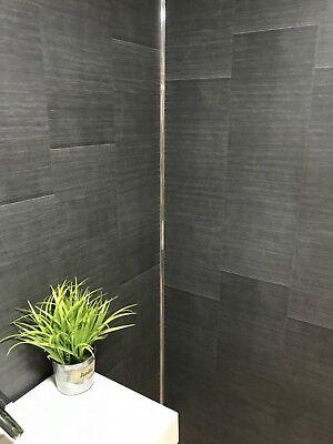 Brushed Carbon Large Modern Tile Effect