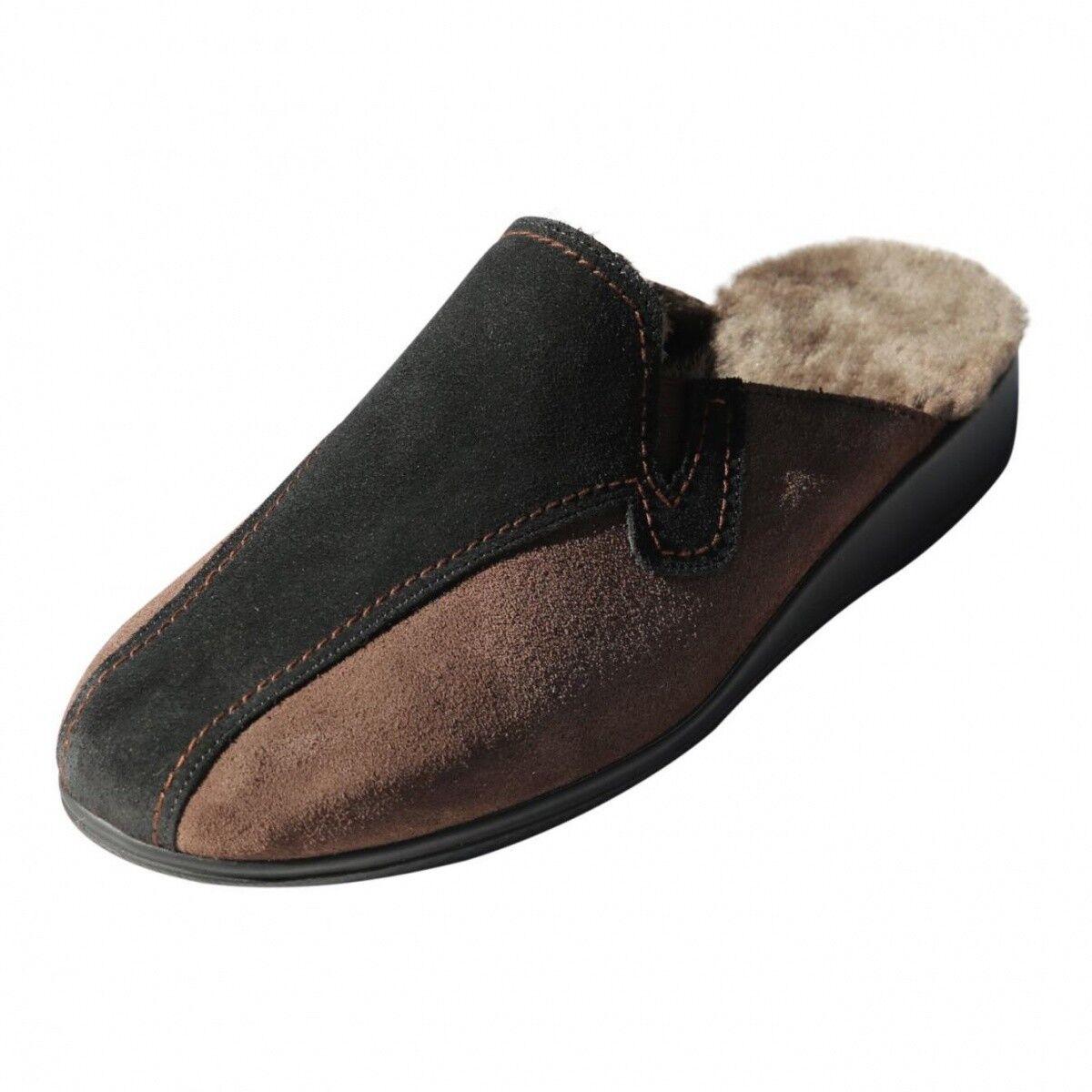 Pantofole in pelle di agnello - biekamp faggio nero uomo scarpe vero cuoio