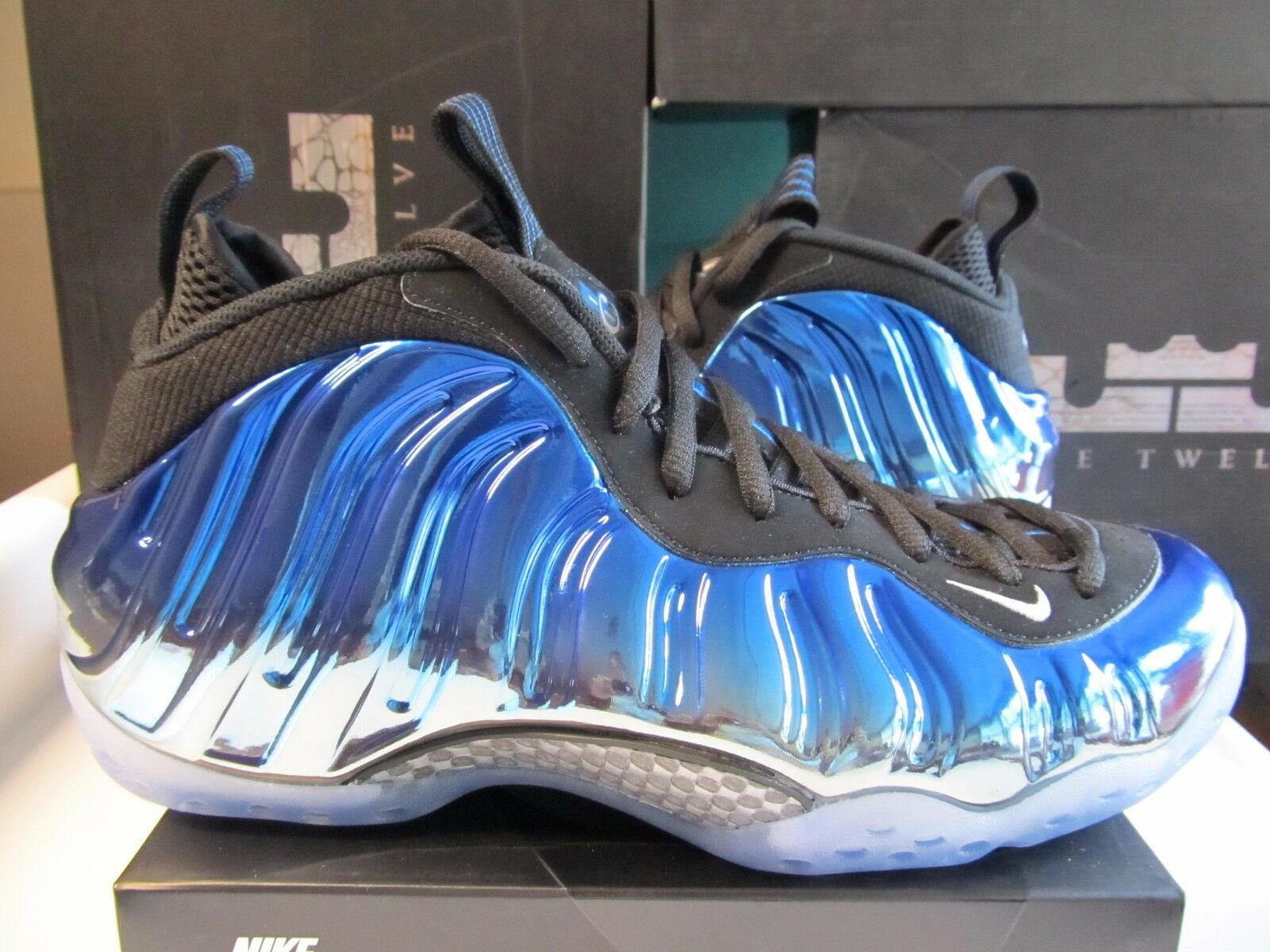 Nike Air Foamposite One PRM blueE MIRROR Metallic Silver Chrome Royal 575420 008