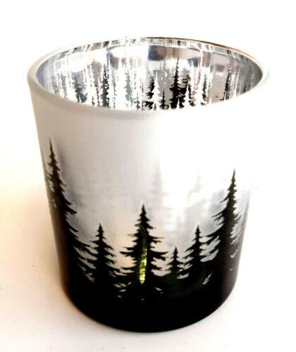 Formano chices Teelichtglas Tannenmotiv NEU Grün Silber Weiß satiniert 8 cm Hoch