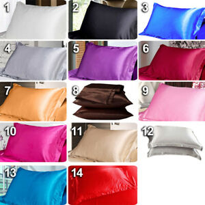Silk Satin Pillow Cases Cover Queen Diy Bed Cushion Cover