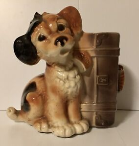 Royal Copley Vintage Skip the Dog with Suitcase Planter Vase Puppy