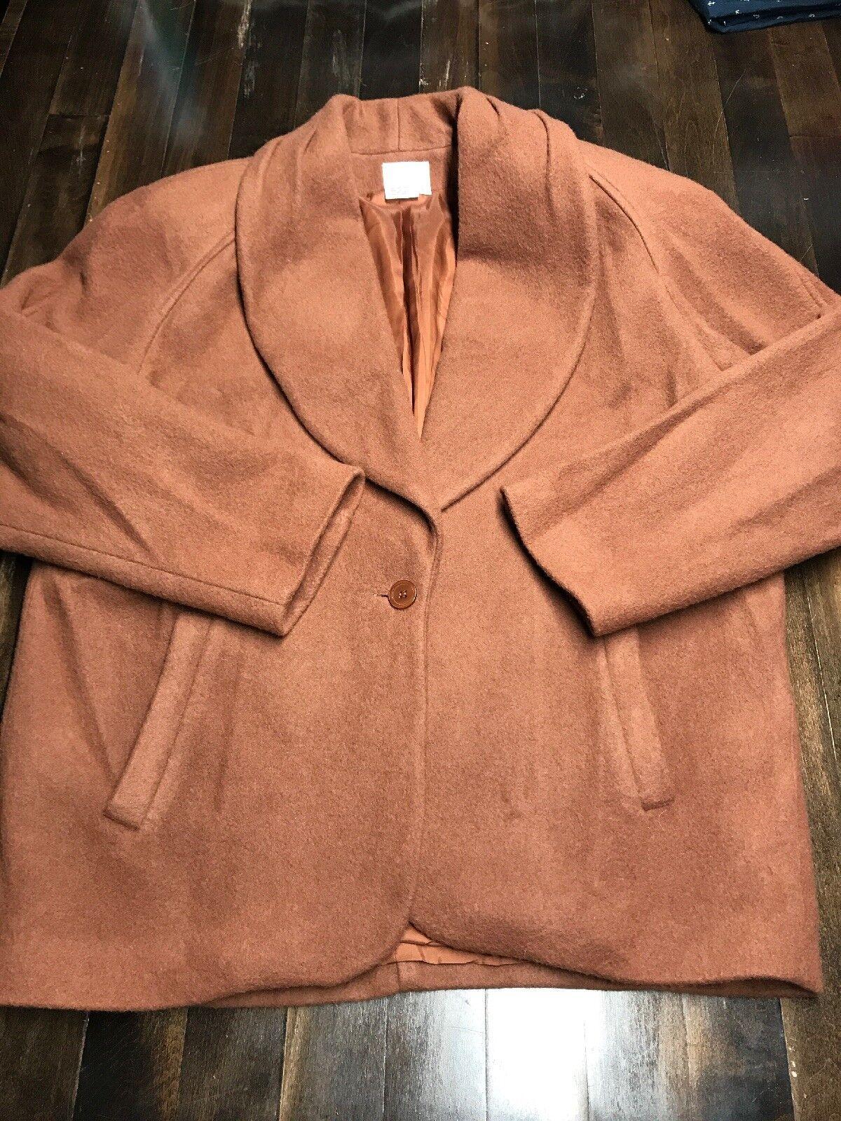 Neiman Marcus Vintage Women's 100% Wool Coat Brown Dark Camel Size 12