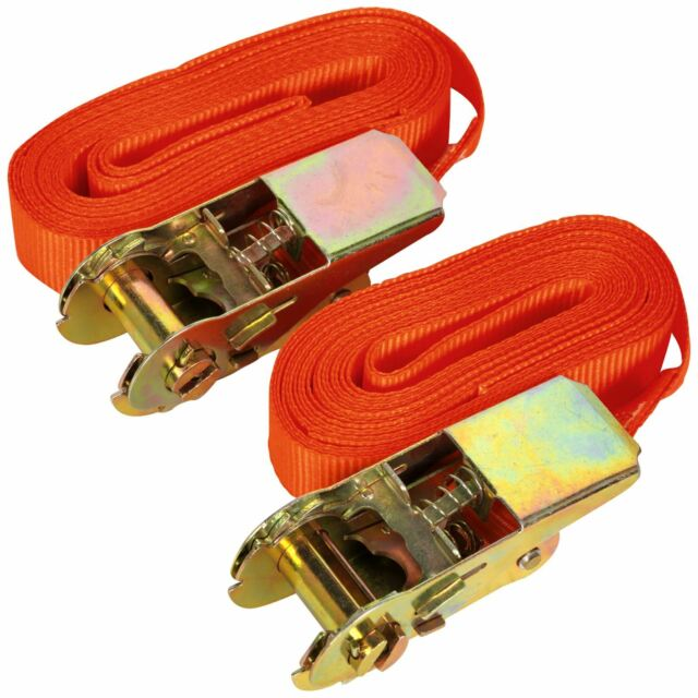 Sealey 2pc 500kg Self-Securing Ratchet Tie Down Cargo Lash 25mm x 4.5m
