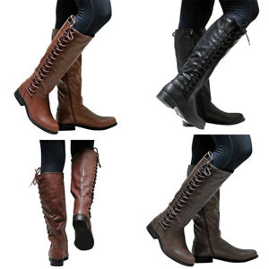 a86b4d29271cd New Womens Faux Lerather Knee High Boots Ladies Flat Side Lace ...