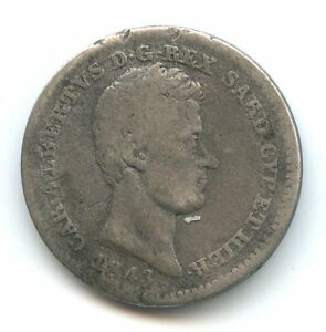 Italie-Carlo-Alberto-50-Centesimi-argent-1843-Turin-KM-134-1