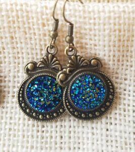 Bronze Drop Dangle Pierced Earrings with Blue/Green Druzy, Boho,Tribal, Festival