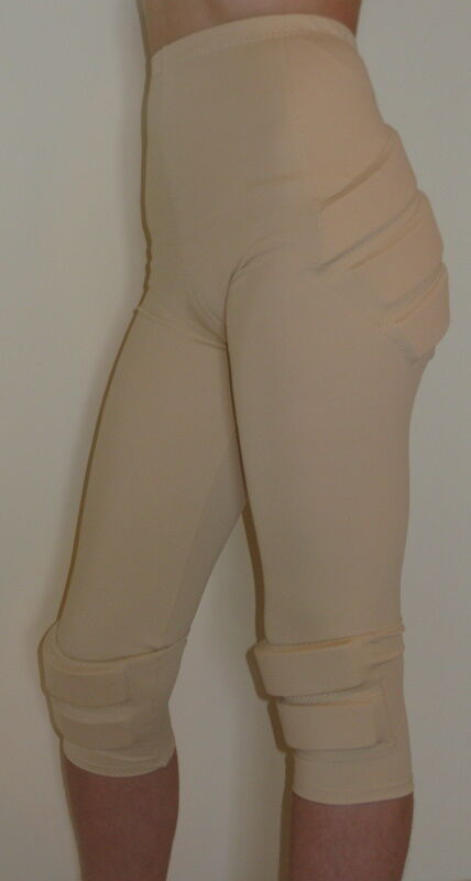 SILVER LINING PADDED FIGURE SKATING CAPRIS - PROTECTION -  LD LARGE - SUNTAN