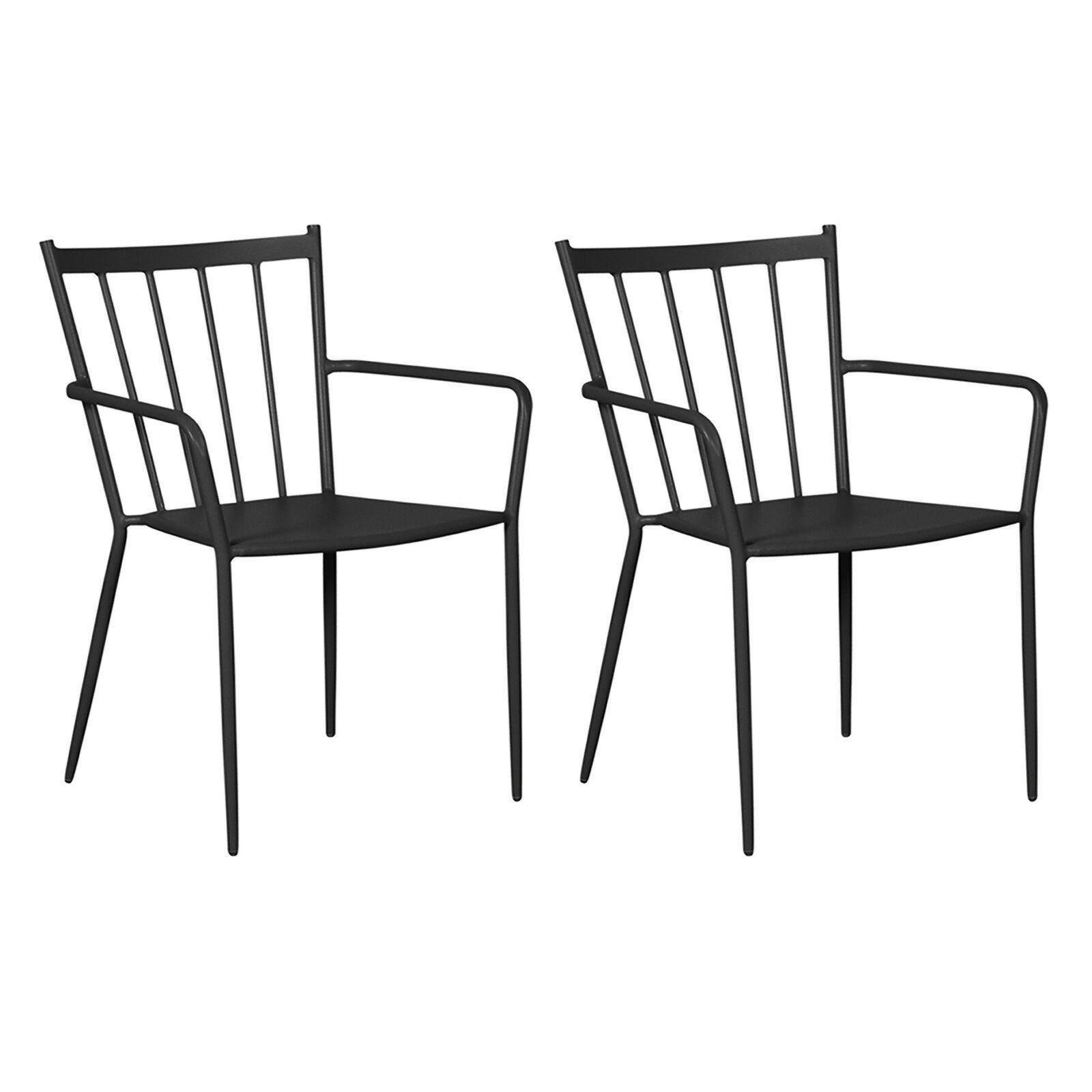 2x Gartenstuhl Irma Stapelstuhl Metall Garten Terrasse Stuhl Set Stühle schwarz