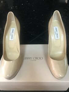 Authentic-Jimmy-Choo-Nude-Patent-Leather-Pumps-Size-39-5-US