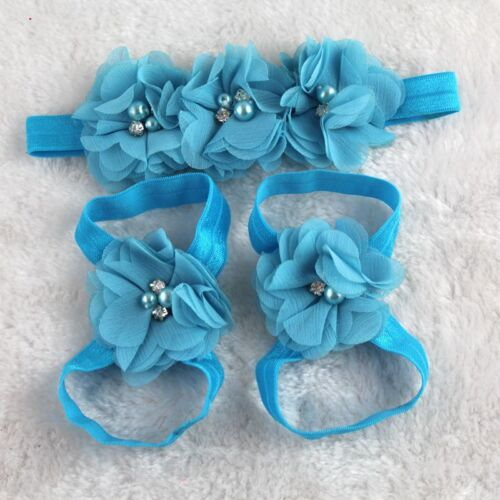 Colorful Feet Flower Barefoot Sandals Headband Set for Babies Infants Girl/'s