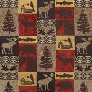 Upholstery Fabric Fairbanks Red Lodge Cabin Rustic Fish Bear Moose