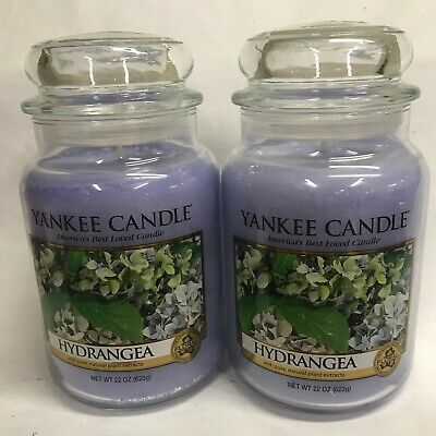 Yankee Candle (2) HYDRANGEA Large 22 oz Jar Candles TWO ...