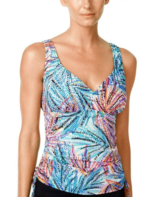Swim Solutions Womens Palm Printed Ruched Tankini Top Size 14