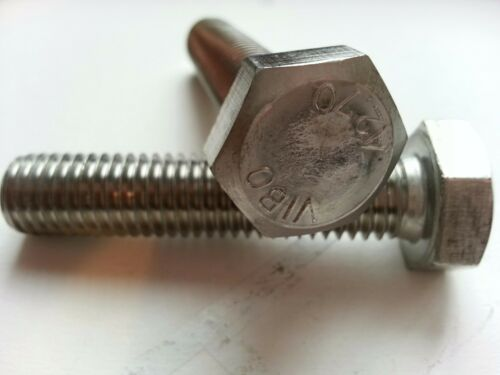 M12-1.75 x 60mm Hex Head Cap Screw Tap Bolt 18-8 Stainless Steel A2 Full Thread