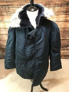 Extreme-Cold-Weather-Parka-N3B-USA-Made-By-Alpha-Ind-Vintage-New-Large-Navy-Blue
