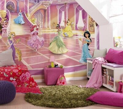 Childrens Room Wall Mural Photo Wallpaper Disney Princess Pink Room Decor Ebay