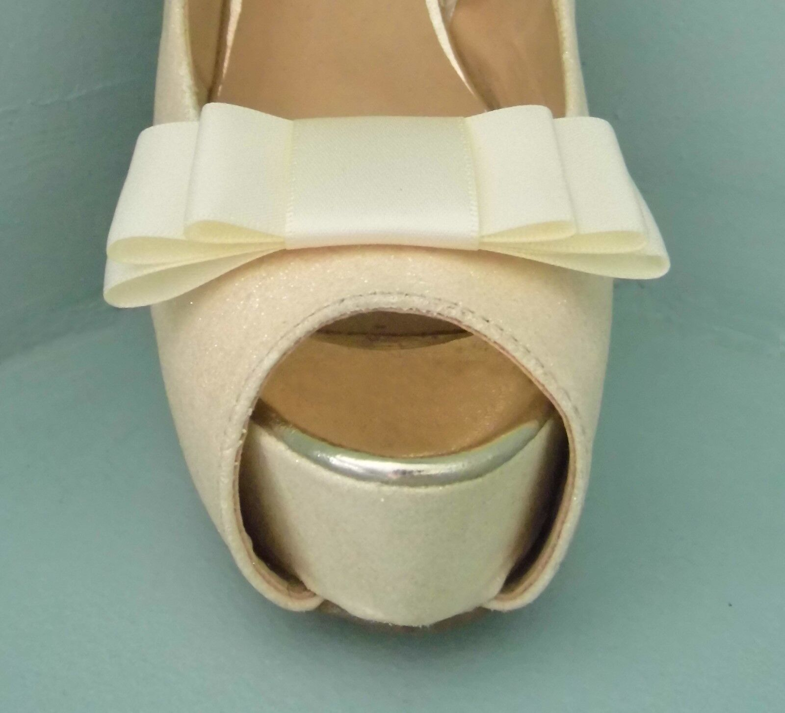 2 Ivory Triple Bow Clips for Shoes - other colours on request