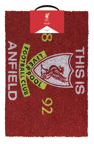 LIVERPOOL FOOTBALL CLUB THIS IS ANFIELD DOOR MAT 40X60CM COIR NON-SLIP LICENSED