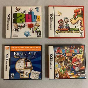 Nintendo DS Games Lot of 4 Mario Party Brain Age 2 ZUBO And Mario & Luigi B.I.S