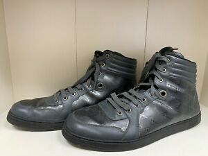 f15235c156b GUCCI MENS GG IMPRIME LACE UP HIGH TOP BLACK LEATHER SNEAKERS 224778 ...