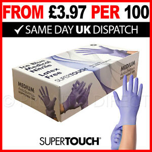 Nitrile Gloves - Box of 100 - Powder Free - Latex Free - Ice Blue - SUPERTOUCH