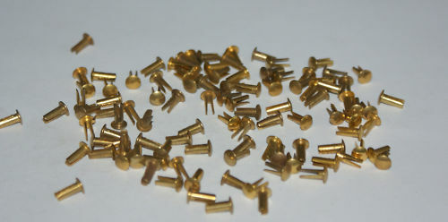 100 BRASS PLATED  8mm SPLIT ( BIFRUCATED) RIVETS