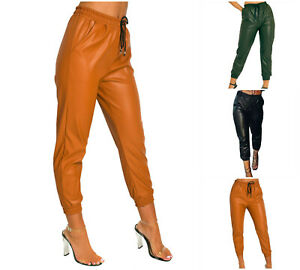 Womens Ladies Faux Leather PU Shiny Wet Look Cuffed Bottom Joggers Trousers Pant