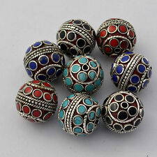 WS116 Nepalese Tibetan Silver Plated Coral   Black Howlite 8 beads Wholesale Lot