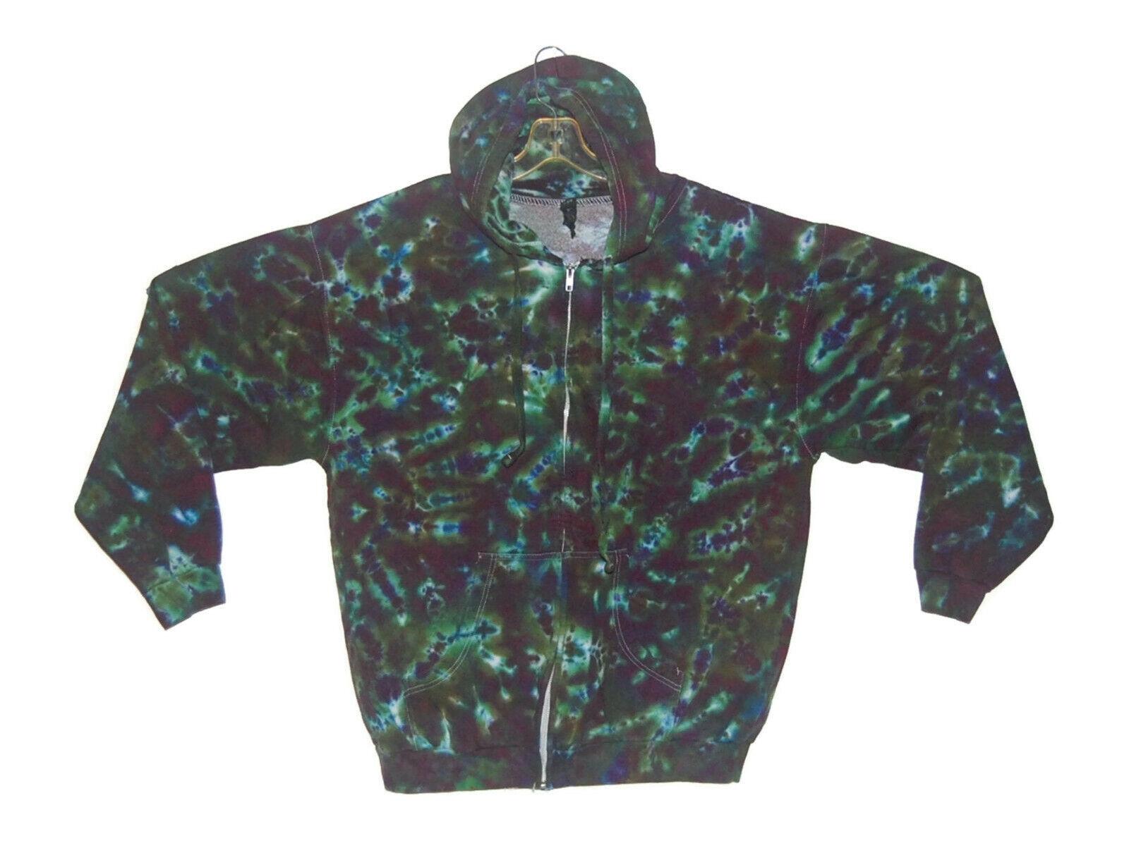 Adult Tie Dye Zip Hoodie Olive Blotter Zipper Sweatshirt