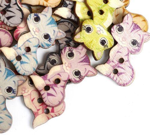 50 Stück Holzknöpfe 20x27mm 2 Löcher Katze Mix Farben Nähen Basteln Kleidung