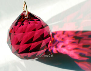 30mm-Swarovski-Bordeaux-Red-Austrian-Crystal-Sphere-Prism-Ball-Retired-1-3-16-in