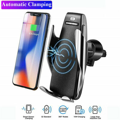 Qi Automatic Clamping Wireless Car Charger Mount Schnelles Ladegerät Ladestation | eBay